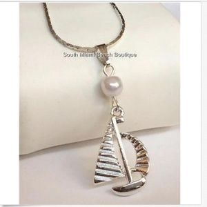 """Silver Pearl Sailboat Necklace Nautical Island 18"""""""